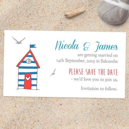 Seaside Beach Huts - Save the Date Magnets
