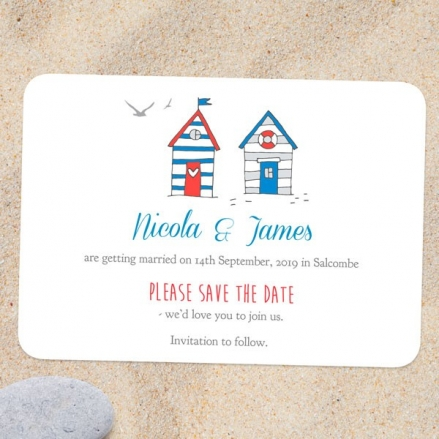 Seaside Beach Huts - Save the Date Cards
