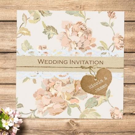 Shabby Chic Flowers - Wedding Invitations