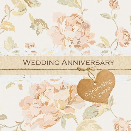 50th Wedding Anniversary Invitations - Shabby Chic Flowers
