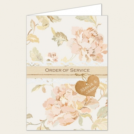 Shabby Chic Flowers - Wedding Order of Service