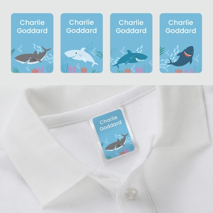 No Iron Personalised Stick On Clothing Name Labels - Shark - Mixed Pack of 56