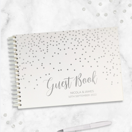Shimmering-Dots-Silver-Foil-Guest-Book-Personalised