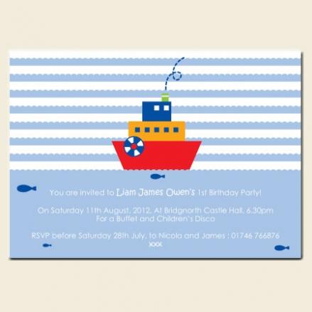 1st Birthday Invitations - Ship on Sea