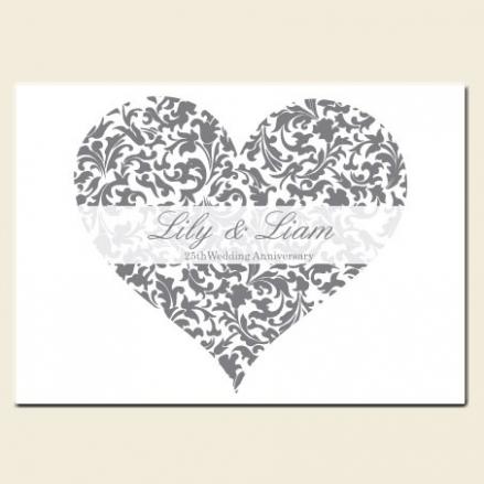 25th Wedding Anniversary Invitations - Silver & White Heart Pattern