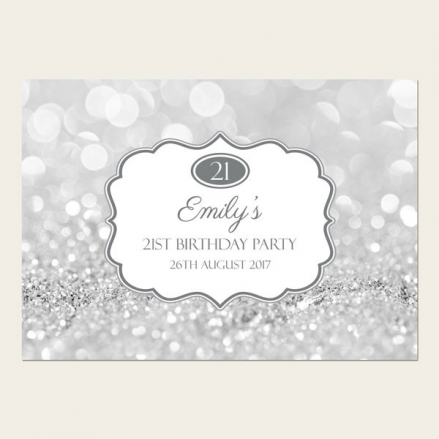 21st Birthday Invitations - Silver Glitter