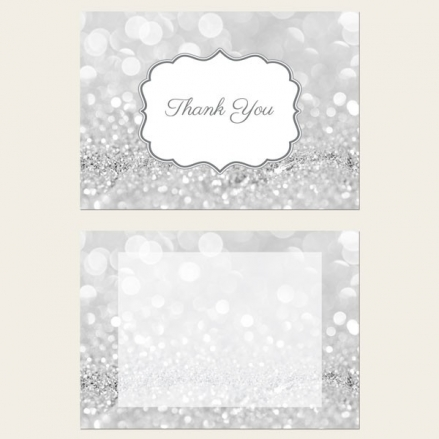 Ready to Write Thank You Cards - Silver Glitter Pattern