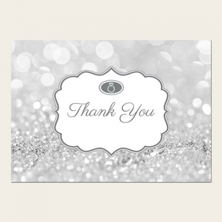 Thank You Cards - Silver Glitter Pattern