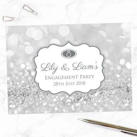 Engagement Invitations - Silver Glitter Pattern