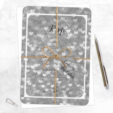 Silver Heart Pattern - Ready to Write Evening Invitations & RSVP