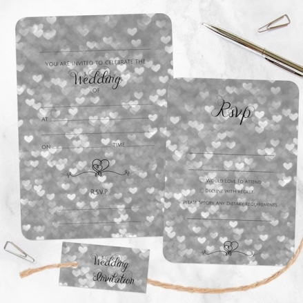 Silver Heart Pattern - Ready to Write Wedding Invitations & RSVP