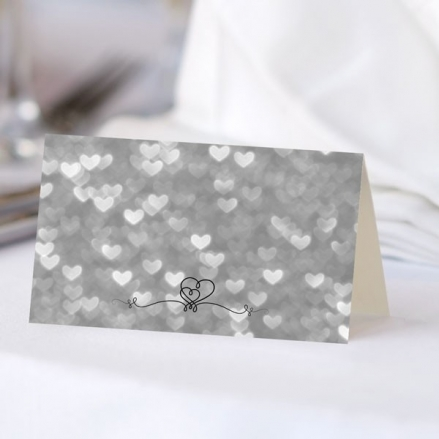 Silver Heart Pattern - Ready to Write Wedding Place Cards