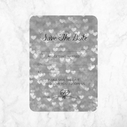 Silver Heart Pattern - Ready to Write Save the Date Cards
