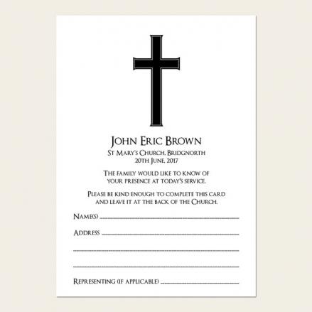 Funeral Attendance Cards - Simple Crucifix