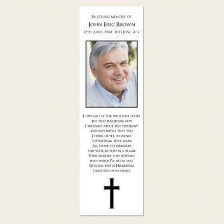 Funeral Bookmark - Simple Crucifix