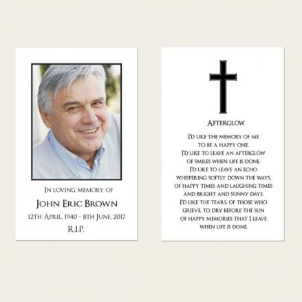 Funeral Memorial Cards - Simple Crucifix