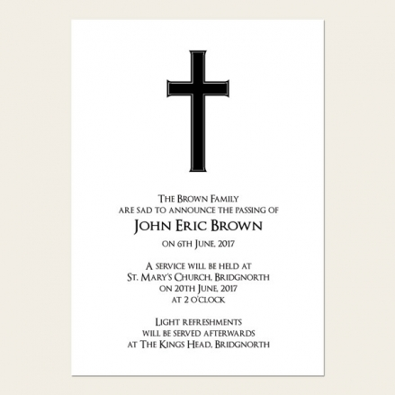 Funeral Announcement Cards - Simple Crucifix