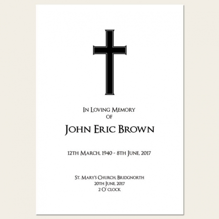 Funeral Order of Service - Simple Crucifix