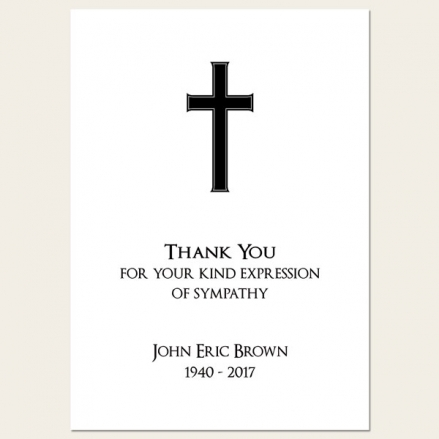 Funeral Thank You Cards - Simple Crucifix