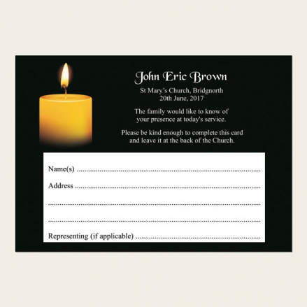 Funeral Attendance Cards - Single Candle