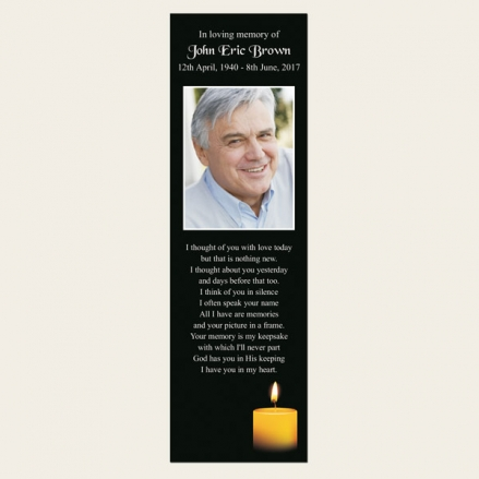Funeral Bookmark - Single Candle