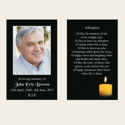 Funeral Memorial Cards - Single Candle
