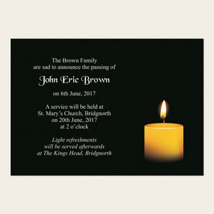 Funeral Announcement Cards - Single Candle