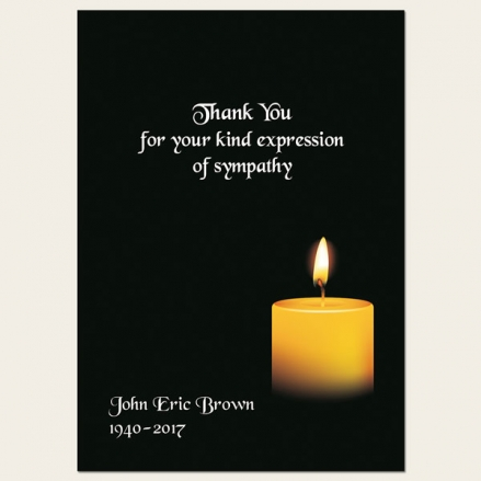 Funeral Thank You Cards - Single Candle