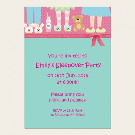 Personalised Kids Birthday Invitations - Sleepover Teddy Party - Pack of 10