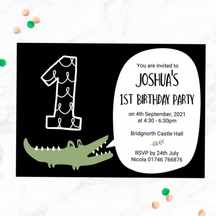 1st Birthday Invitations - Snappy Crocodile - Pack of 10