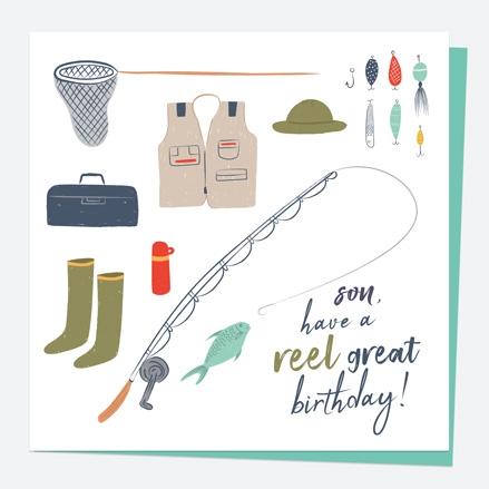 Son Birthday Card - Fishing - Reel Great - Son