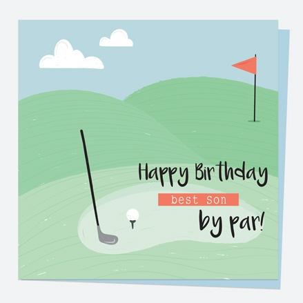 Son Birthday Card - Golf - Best Son by Par