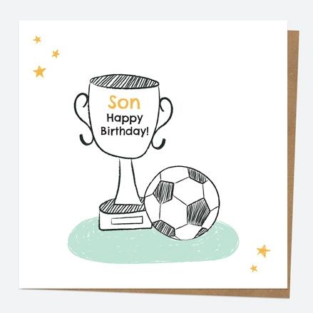 Son Birthday Card - Football Trophy - Son