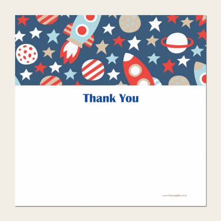 Ready to Write Kids Thank You Cards - Space Rocket Pattern