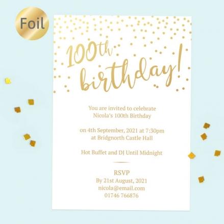 Foil 100th Birthday Invitations - Sparkly Typography