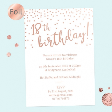 Foil 18th Birthday Invitations - Sparkly Typography