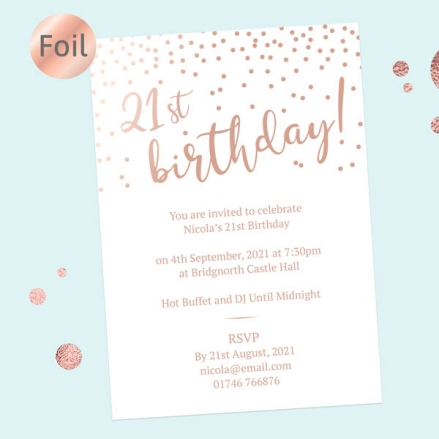 Foil 21st Birthday Invitations - Sparkly Typography