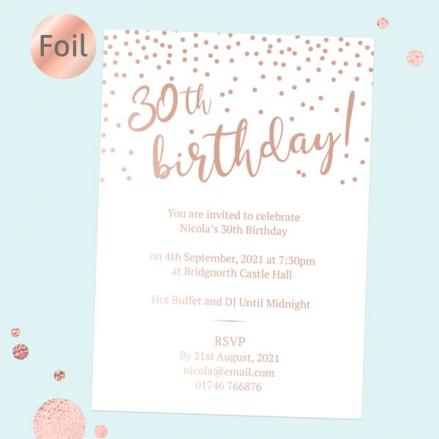 Foil 30th Birthday Invitations - Sparkly Typography