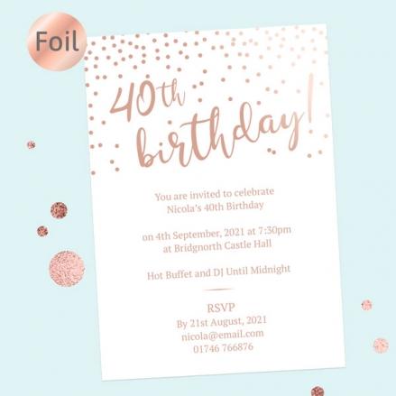 Foil 40th Birthday Invitations - Sparkly Typography