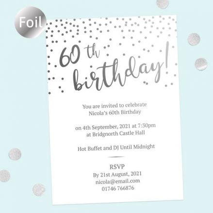 Foil 60th Birthday Invitations - Sparkly Typography
