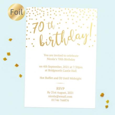 Foil 70th Birthday Invitations - Sparkly Typography
