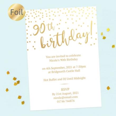 Foil 90th Birthday Invitations - Sparkly Typography