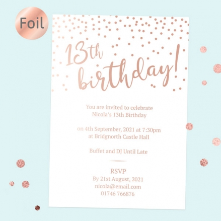 Foil Teen Birthday Invitations - Sparkly Typography