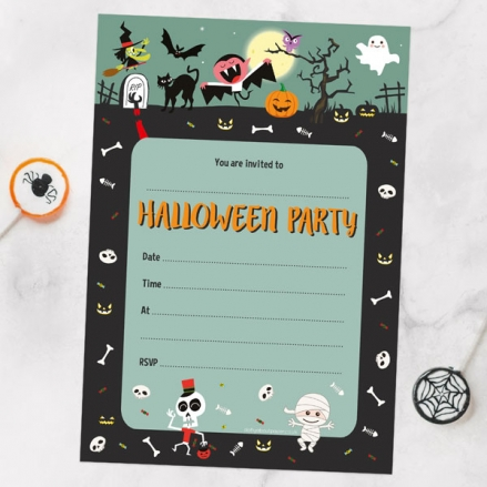 Spooky Fun - Halloween Notelet Invitation - Pack of 20