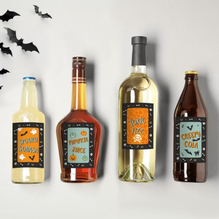 Spooky Fun - Halloween Bottle Labels - Assorted Pack of 9
