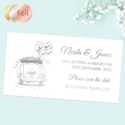 Vintage-Wedding-Car-Foil-Save-the-Date-Magnets