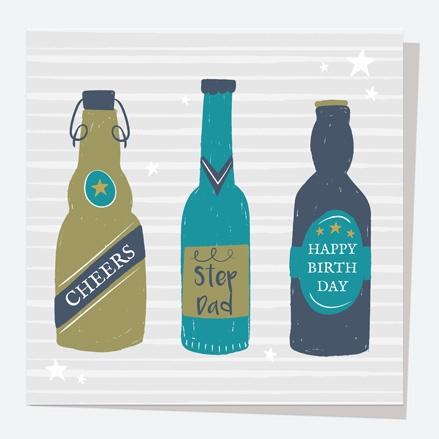 Step-Dad Birthday Card - Beer Bottles - Cheers Step-Dad