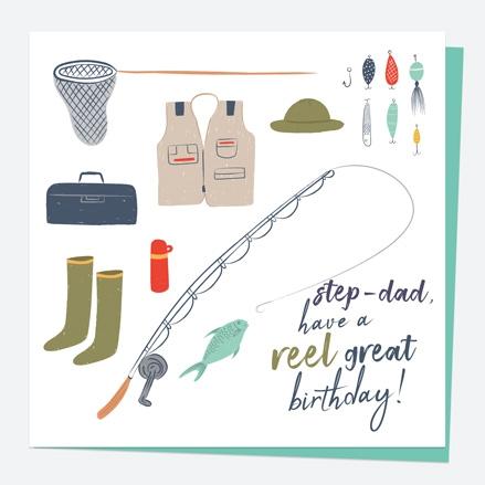 Step-Dad Birthday Card - Fishing - Reel Great - Step-Dad