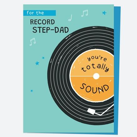 Step-Dad Birthday Card - Vinyl Record - Step-Dad