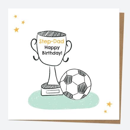 Step-Dad Birthday Card - Football Trophy - Step-Dad